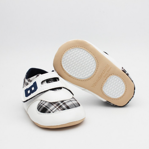 Baby Boy Shoes (White with Black design)