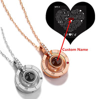 "Personalized Custom Name ""I Love You"" In 100 Languages Projection Necklace"