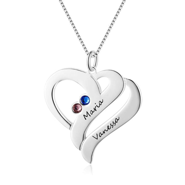Custom Stainless Steel Heart Necklace With Personalized Names & Birthstones