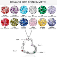 Personalized Stainless Steel Heart Necklace * 4 Names & Birthstones