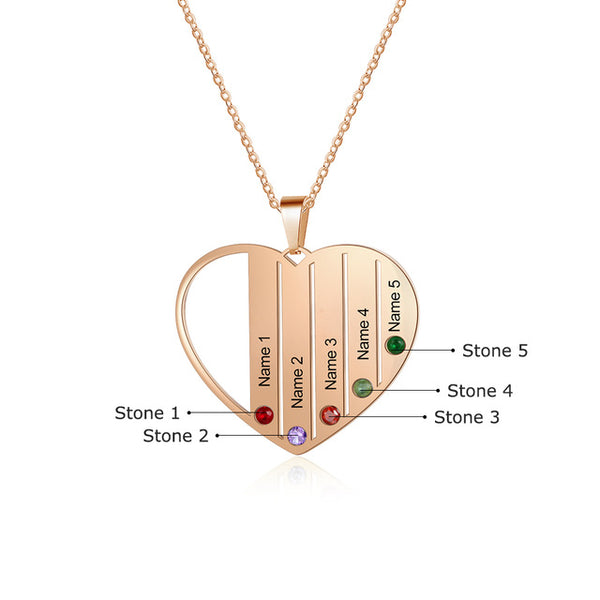 Heart Pendant Necklace Personalized With 5 Names & Birthstones