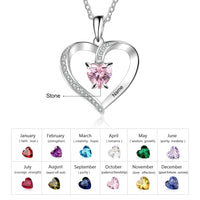 Personalized 925 Sterling Sliver Heart Necklace With Name & Birthstone