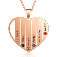 Heart Pendant Necklace Customized With 6 Names & Birthstones