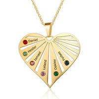 Beautiful Heart Pendant Necklace Personalized With 6 Names & Birthstones