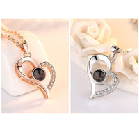 """I Love You"" In 100 Languages Heart Shaped Projection Necklace"