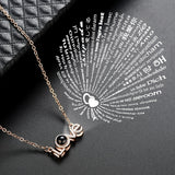"""I Love You"" In 100 Languages Projection Necklace * Gold/Rose Gold/Platinum"