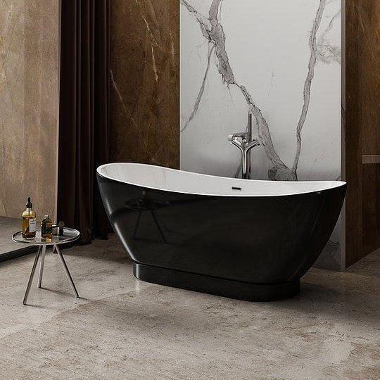 Charlotte Edwards Richmond 1760mm Gloss Black Freestanding Bath