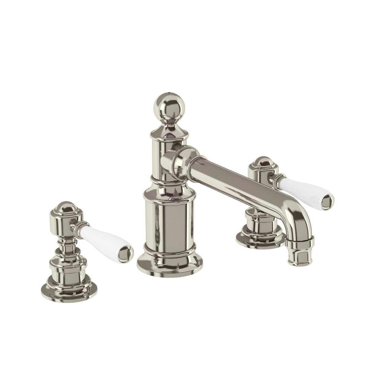 Burlington Arcade Nickel 3 Hole Deck Mounted Basin Mixer