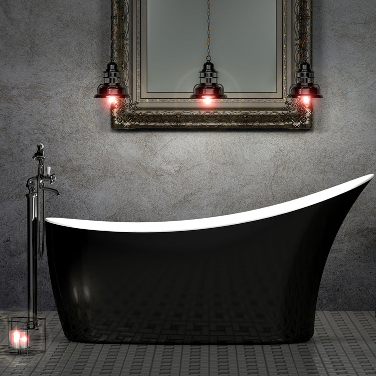 Charlotte Edwards Portobello Gloss Black 1590mm Freestanding Bath