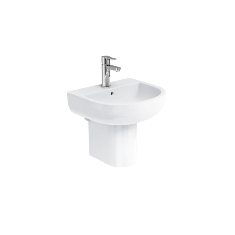 Compact 450mm Basin and Semi Pedestal - blueskybathrooms