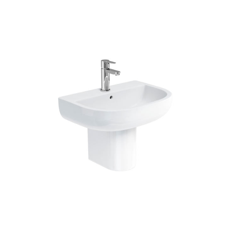 Compact 500mm Basin and Semi Pedestal - blueskybathrooms