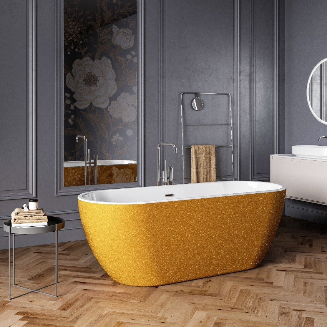 Charlotte Edwards Sparkling Gold 1690mm Belgravia Contemporary Freestanding Bath