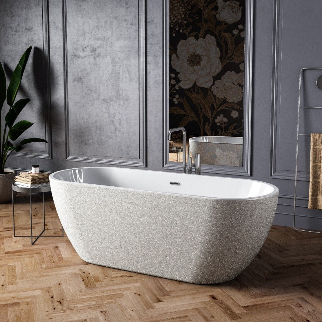 Charlotte Edwards Sparkling Silver 1690mm Belgravia Contemporary Freestanding Bath