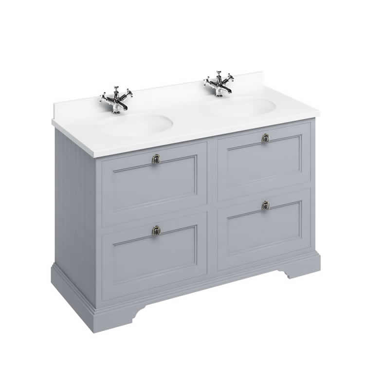 Burlington Grey 1300mm Double Vanity Unit with Drawers, Worktop & Basin