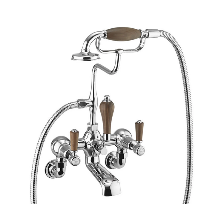 Burlington Kensington Walnut Wall Mounted Bath Shower Mixer with S Adjuster