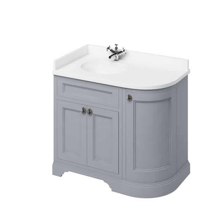 Grey Left Hand 1000mm Curved Vanity Unit with Basin - blueskybathrooms