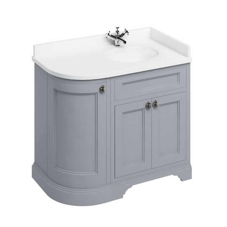 Grey Right Hand 1000mm Curved Vanity Unit with Basin - blueskybathrooms