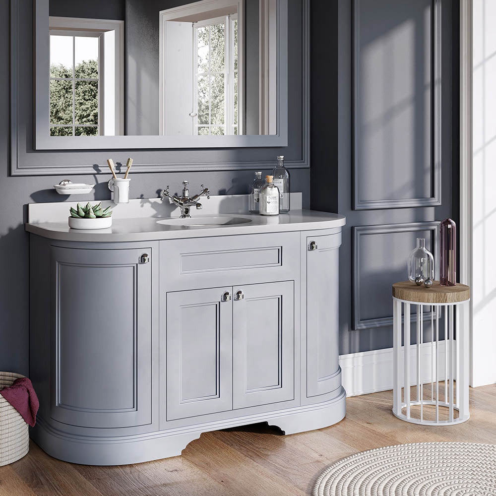 Grey 1340mm Classic Vanity Unit with Basin (With Doors) - blueskybathrooms