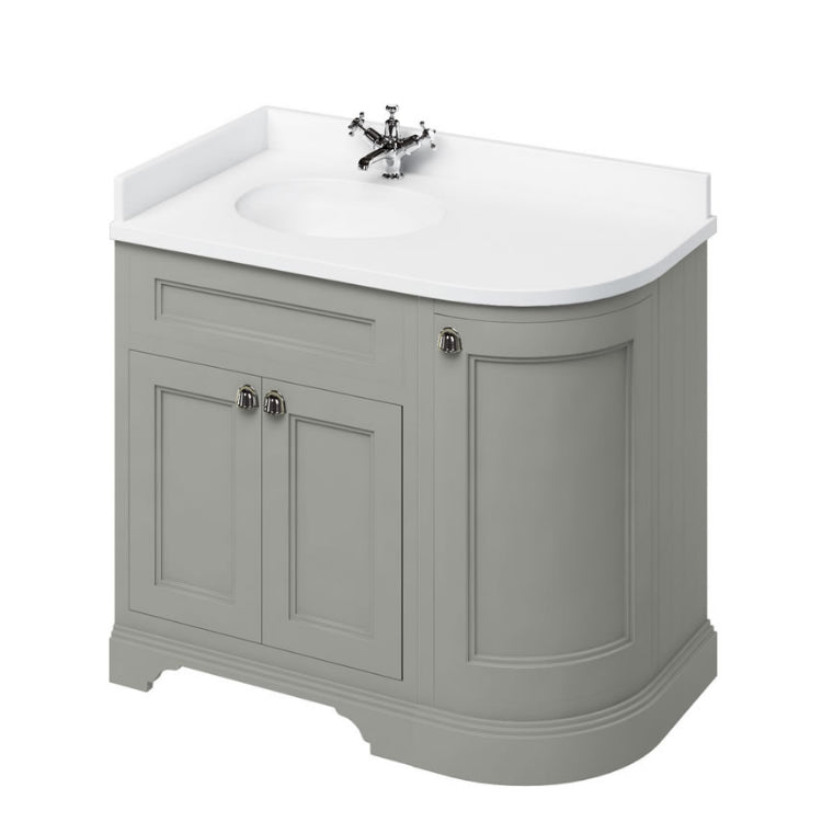 Burlington Olive Classic 1000mm Curved Vanity Unit With Doors, Worktop & Basin - Left Hand
