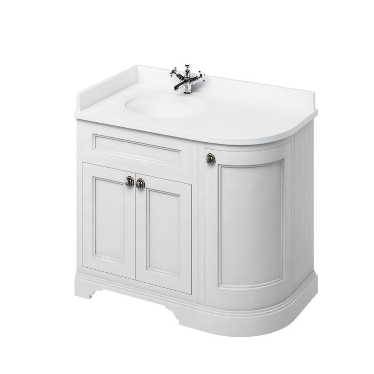 Matt White Left Hand 1000mm Curved Vanity Unit with Basin - blueskybathrooms