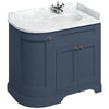 Burlington Blue Classic 1000mm Curved Vanity Unit With Doors, Worktop & Basin - Right Hand