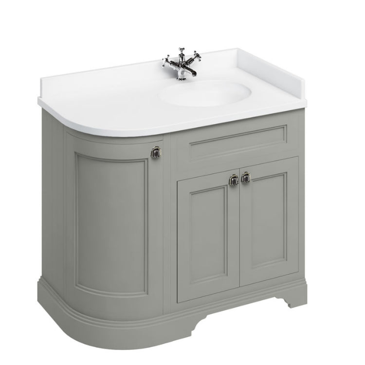 Olive Right Hand 1000mm Curved Vanity Unit with Basin - blueskybathrooms