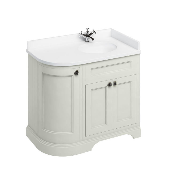 Burlington Sand Classic 1000mm Curved Vanity Unit With Doors, Worktop & Basin - Right Hand