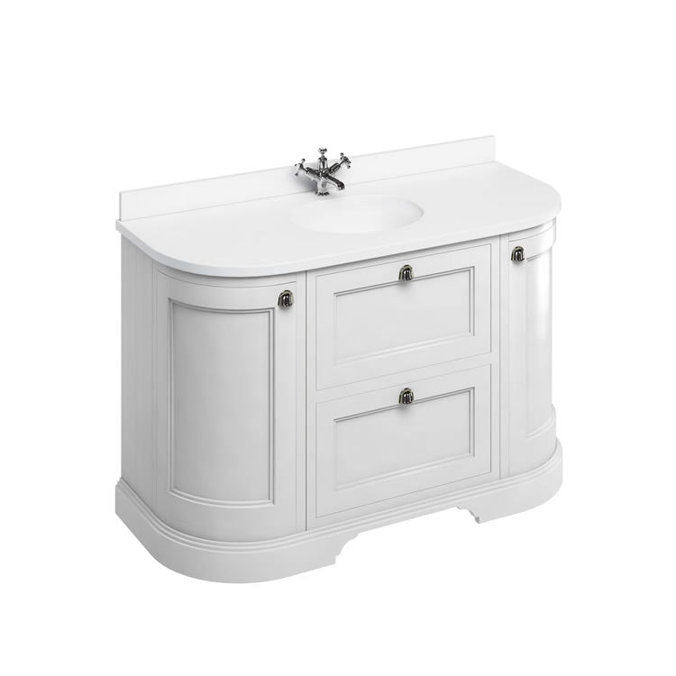 Matt White 1340mm Classic Vanity Unit with Basin - blueskybathrooms