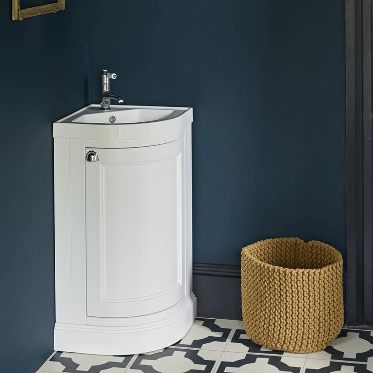 Matt White Corner Vanity Unit and Basin - blueskybathrooms