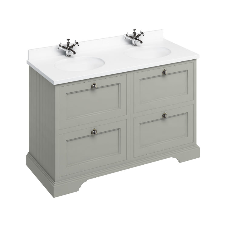 Burlington Olive 1300mm Double Vanity Unit with Drawers, Worktop & Basin