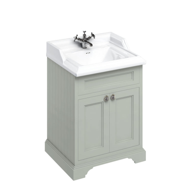 Burlington Olive Classic 650mm Vanity Unit With Doors And Classic Basin
