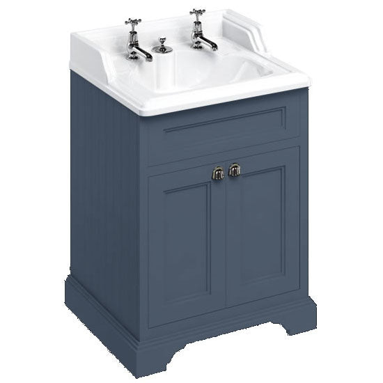 Burlington Blue Freestanding 650mm Vanity Unit with Classic Invisible Overflow Basin