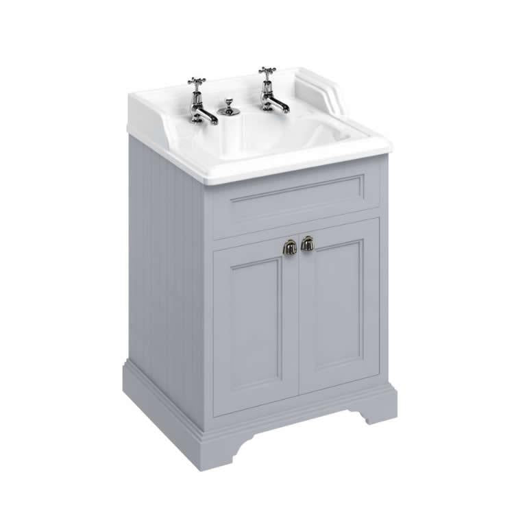 Burlington Grey Classic Freestanding 650mm Vanity Unit with Classic Invisible Overflow Basin