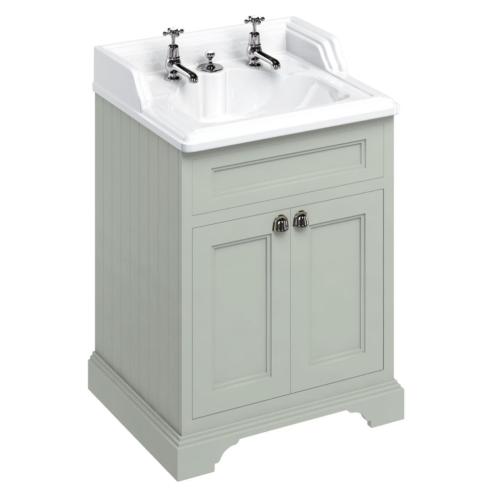 Burlington Olive Freestanding 650mm Vanity Unit with Classic Invisible Overflow Basin