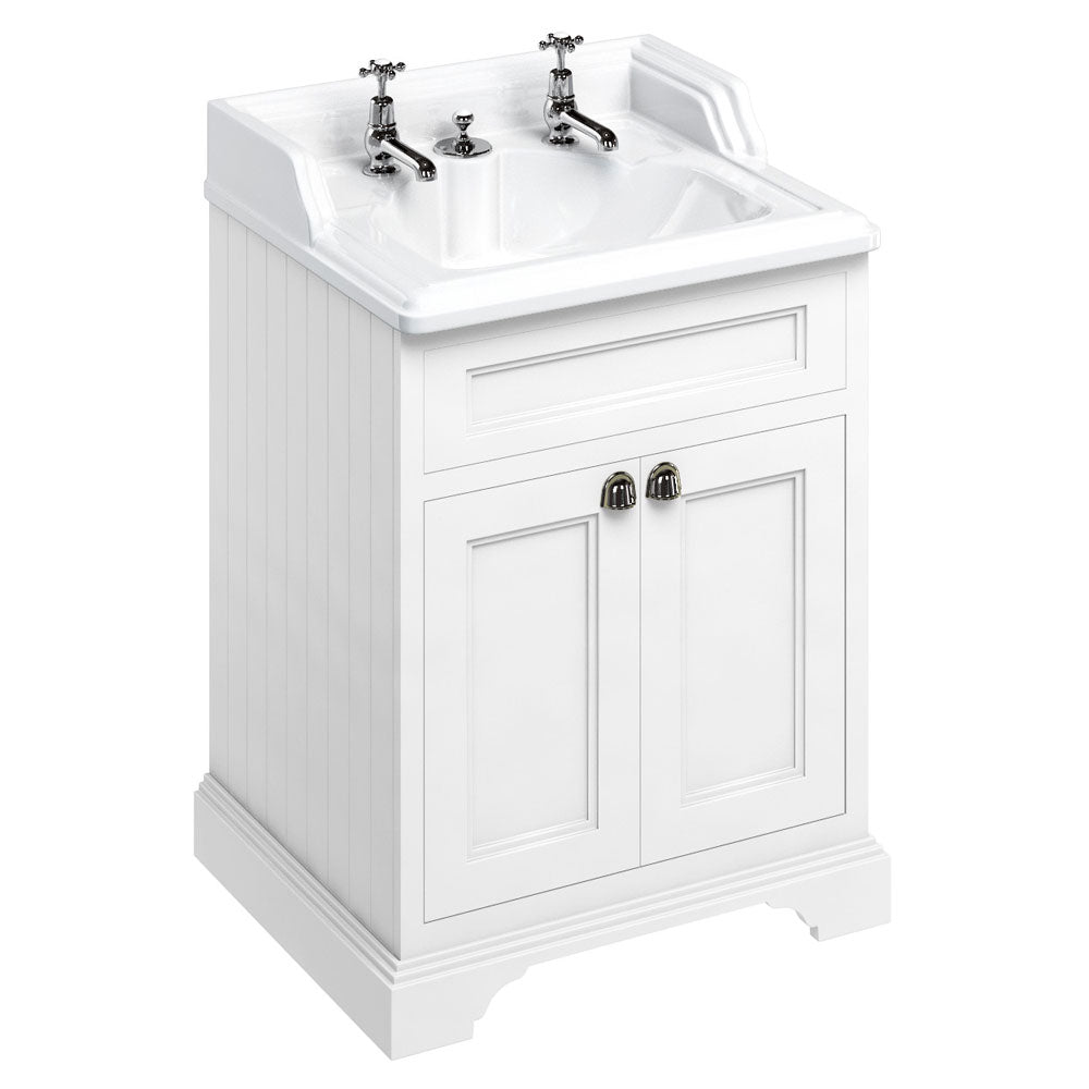 Burlington Matt White Freestanding 650mm Vanity Unit with Classic Invisible Overflow Basin