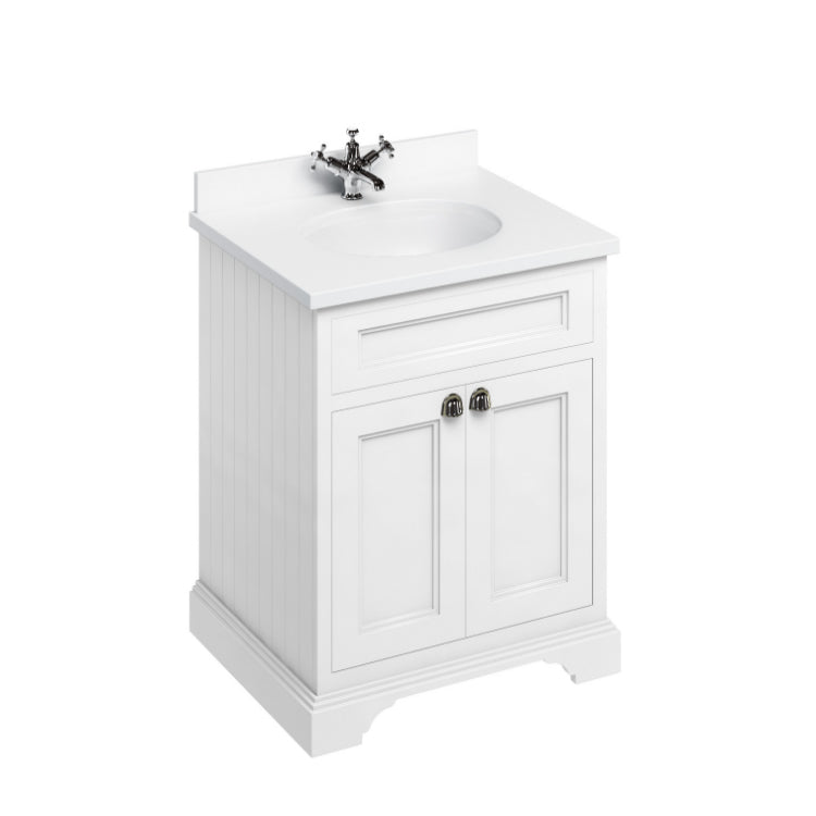 Matt White 650mm Classic Vanity Unit and Basin - blueskybathrooms