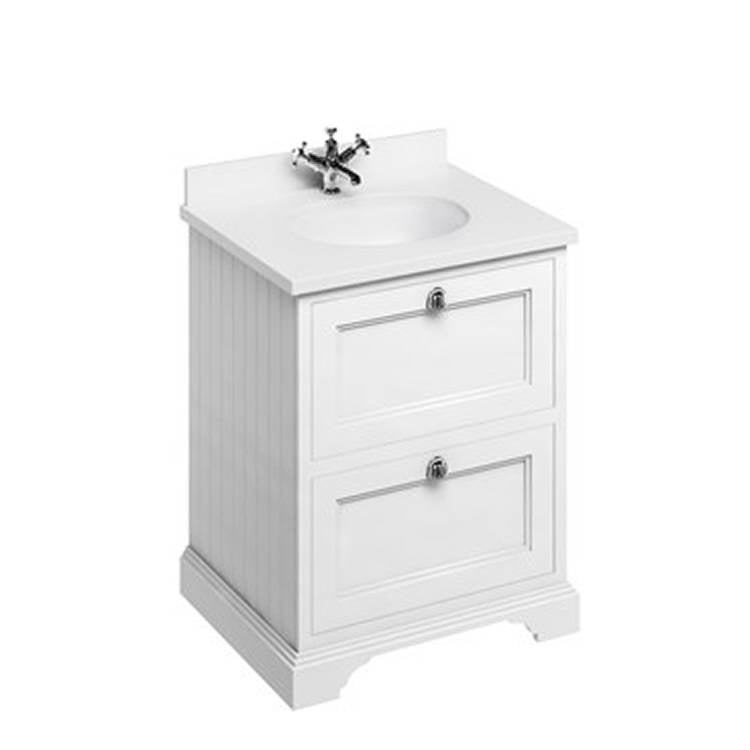 Matt White 650mm Classic Vanity Unit with Basin - blueskybathrooms