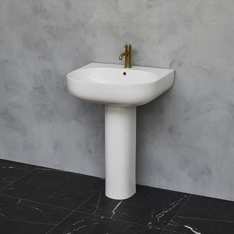 Milan 600mm Basin & full Pedestal - blueskybathrooms