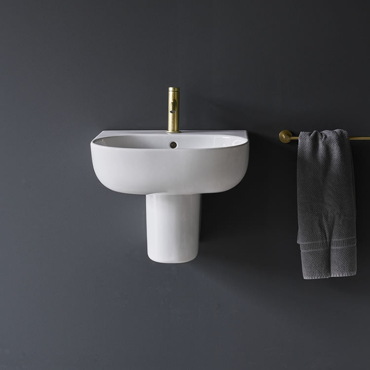 Milan 600mm Basin & Semi Pedestal - blueskybathrooms