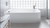 Britton Cleargreen Viride offset Bath - blueskybathrooms