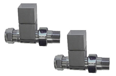 Straight Square Valve Pack (Chrome) - blueskybathrooms