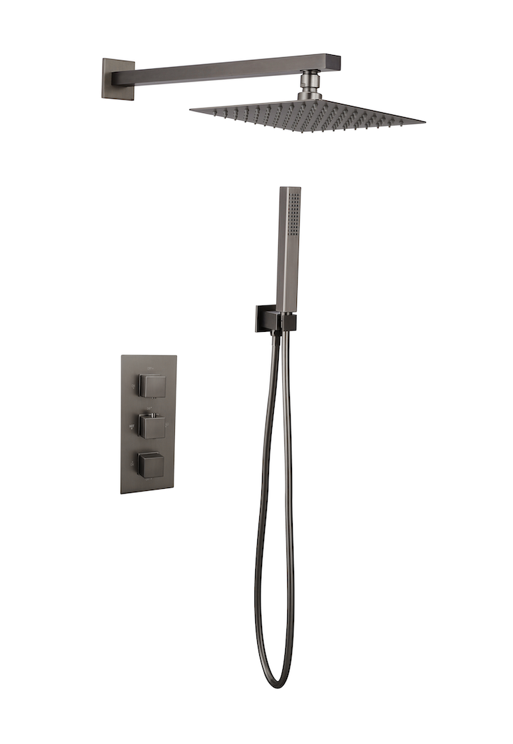 Image of Gunmetal Square Concealed Thermostatic 2 Way Shower Kit