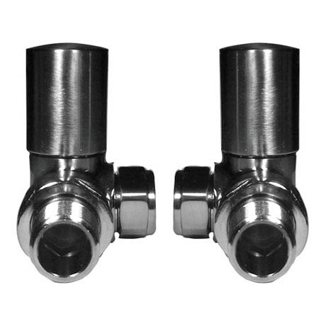 Reina Crova Corner Radiator Valves - Brushed Chrome