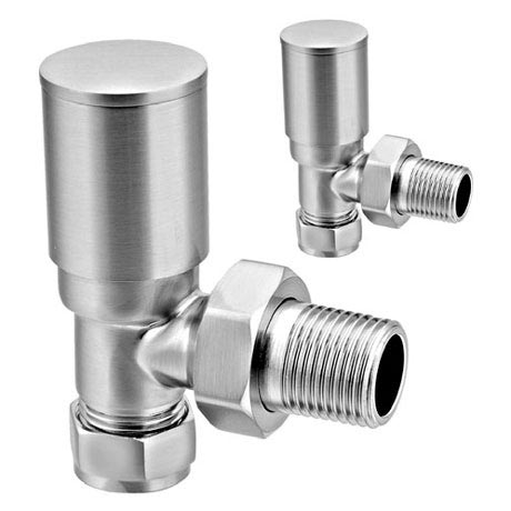 Reina Portland Angled Radiator Valves - Brushed Chrome