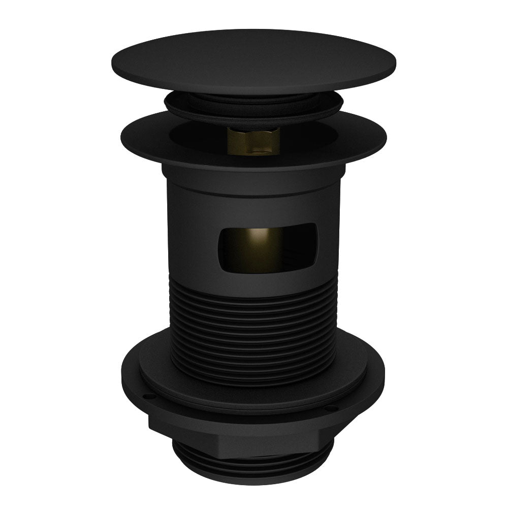 Sprung Plug Slotted Waste -  (Black) - blueskybathrooms