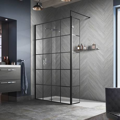Image of Hudson Reed Black Frame Wetroom Screen with Support Arm
