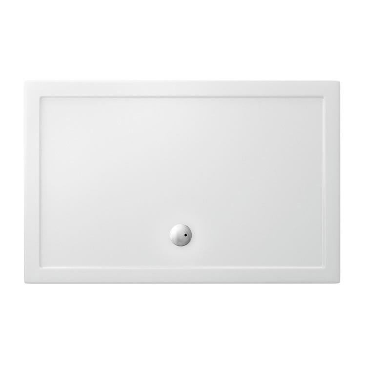 Rectangular White Tray with Central Waste - blueskybathrooms