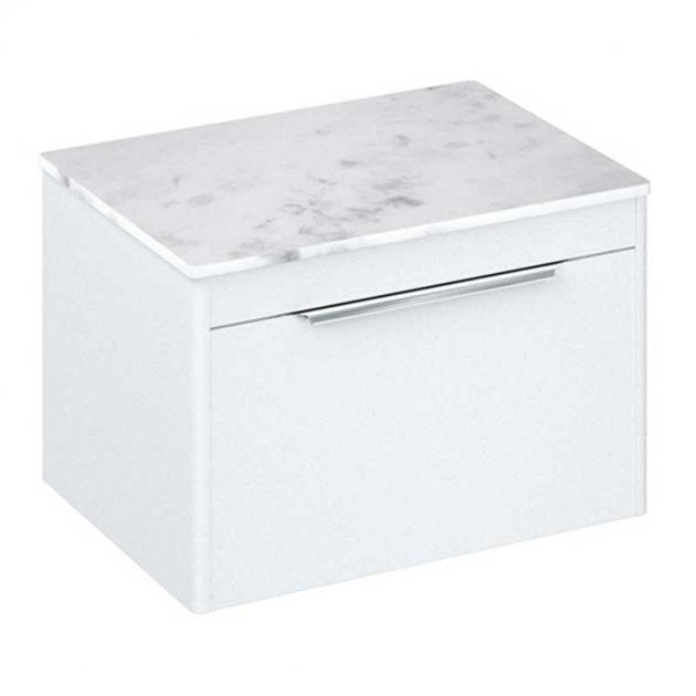 Shoreditch White 650mm Single Drawer Wall Hung Unit With Minerva Worktop - blueskybathrooms