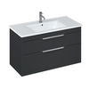 Britton Bathrooms Shoreditch 1000mm Matt Grey Double Drawer Unit & Basin