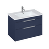 Shoreditch Matt Blue 850mm Double Drawer Wall Hung Unit - blueskybathrooms